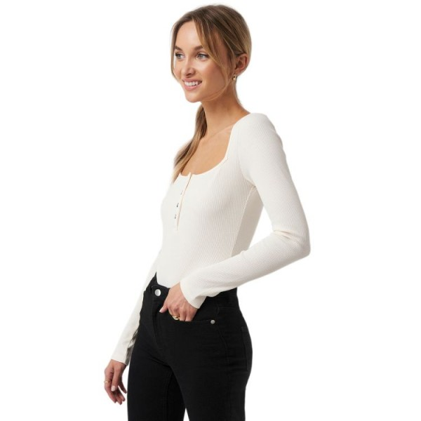 NA-KD Long Sleeve Button Detail Bodysuit