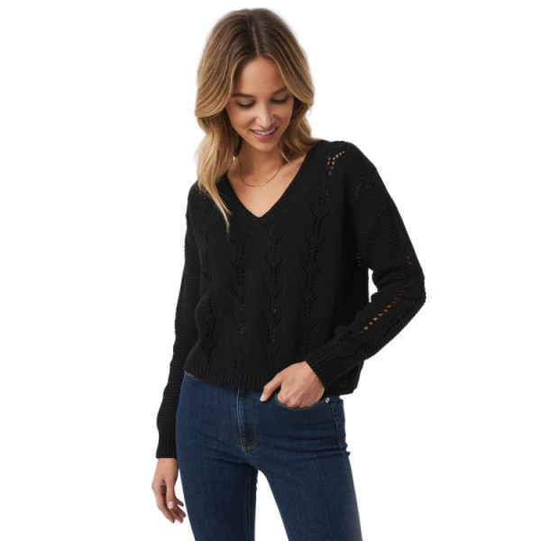 NA-KD Deep V-Neck Lace Stitch Sweater