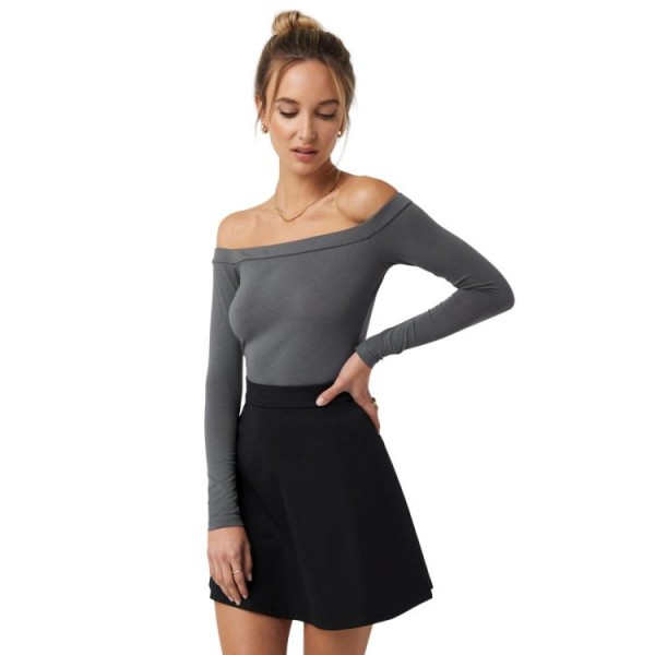 NA-KD Long Sleeve Bardot Top