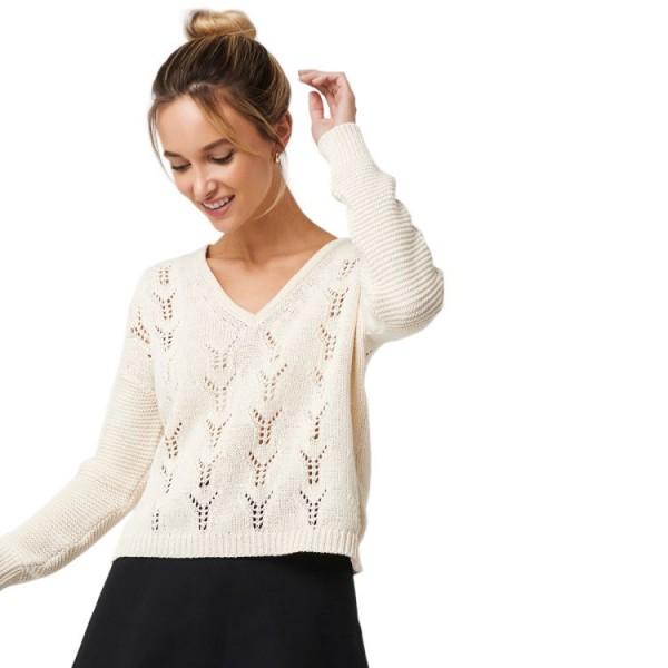 NA-KD Deep V-Neck Lace Stitch Sweater