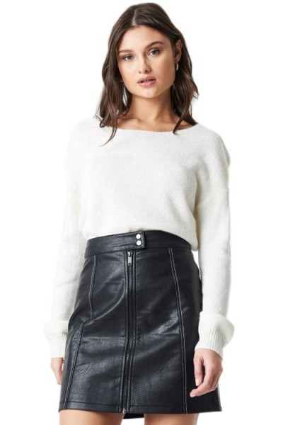 NA-KD V-Neck Back Cropped Knitted Sweater